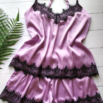 Шелковая пижама лавандового цвета