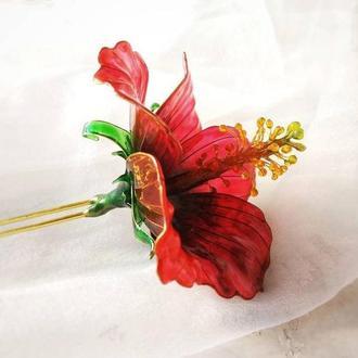 Канзаши красный цветок Гибискуса