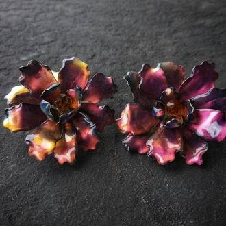 Большие круглые цветочные модные серьги Красно-Золотые Хризантемы