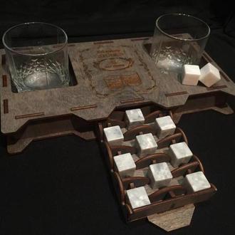 Подарочный набор камни для виски в деревянной стильной коробочке