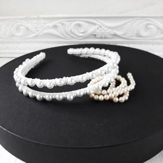 Свадебный белый ободок  с жемчугом, Тиара для невесты, Двойной ободок с жемчугом