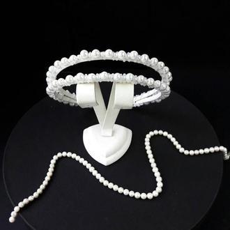 Свадебный белый ободок с керамическим жемчугом, Тиара для невесты, Двойной ободок с жемчугом