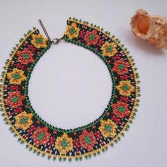 Колье-воротник из бисера в этно стиле