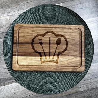 """""""Герб кухни"""" разделочная доска, доска для подачи из дуба 06"""