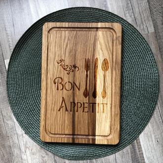 """""""Bon appetit"""" разделочная доска с отверстием для подвеса, доска для подачи из дуба 08"""