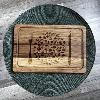 """""""Герб кухни"""" разделочная доска с отверстием для подвеса, доска для подачи из дуба 11"""