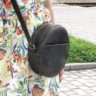 Женская кожаная сумочка через плечо (хаки)