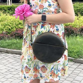 Жіноча шкіряна сумочка через плече (хакі)