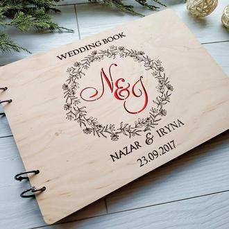 Деревянный свадебный альбом для фото ипожеланий