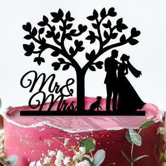 "Свадебный топпер на торт ""Mr&Mrs"""