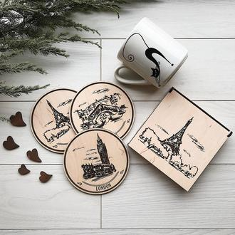 Подставки под кружку из дерева