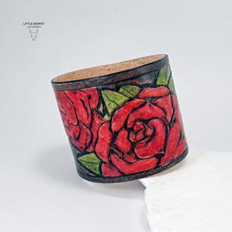 """""""Oldschool Roses"""" Браслет из натуральной кожи с тиснением"""