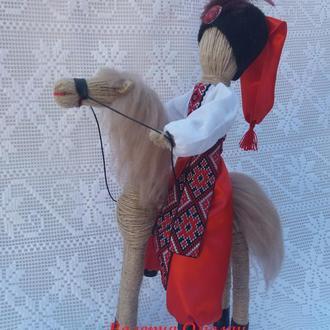 Козак и конь. Подарок мужчинам, оберег. Handmade. Мотанка.