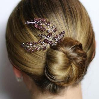 Сливовые шпильки для волос 2 штуки