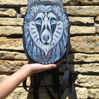 Классный рюкзак с вышивкой Волк, Городской рюкзак черный, Черно-серый рюкзак модный с вышивкой