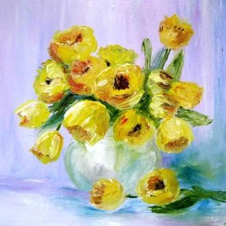 "Масло , холст ""Желтые  тюльпаны"""