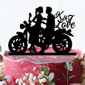 """Именная фигурка на торт """"Жених и невеста на мотоцикле"""""""