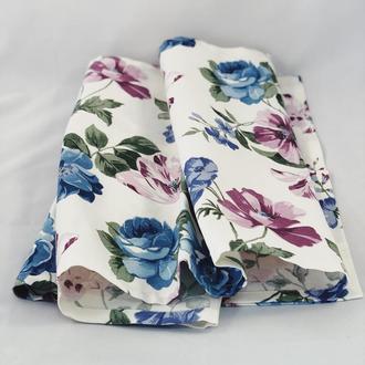 Столовый текстиль. Скатерть из хлопка с цветами. Скатерть-раннер. Скатерть-дорожка.