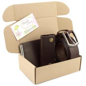 Подарочный набор №30: Ремень + ключница + зажим для денег (коричневый)