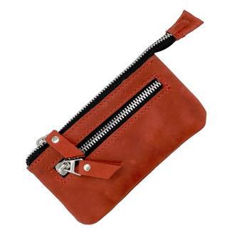 Ключница на молнии из натуральной кожи красная keys-zip