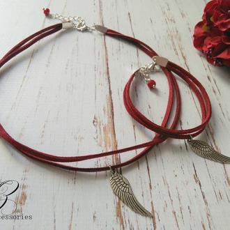 Комплект украшений Колье и браслет с подвеской крыло Натуральная замша