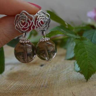 Серебряные серьги с раухтопазом ′Розовый эликсир′