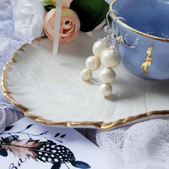 Серьги для невесты с хлопковым жемчугом персикового цвета