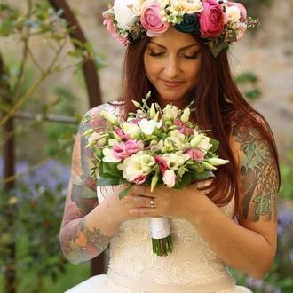 Венок с пионами и ранунулюсами Объемный веночек с цветами Свадебный венок Бутоньерка