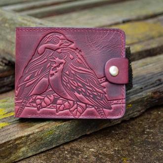 Маленький женский кошелек кожаный марсала бордо с птичками тиснение