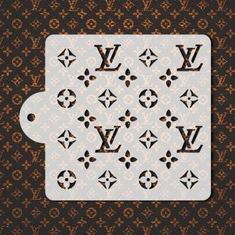 Трафарет с логотипом LV, трафарет для торта, трафарет с цветочным узором, трафарет для печенья