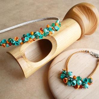 Обруч и браслет с цветами, бирюзово оранжевый обруч, подарок девочке, украшение для волос
