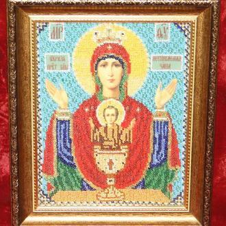 """Картина-икона """"Пресвятая Богородица.Неупиваемая чаша"""" (Оранта)."""