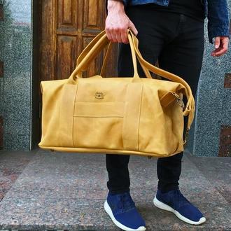 Кожаная дорожная сумка из винтажной кожи, Спортивная сумка карамельного цвета