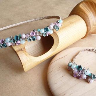 Обруч и браслет с цветами, нежный фиолетово бирюзовый обруч, подарок девочке, украшение для волос