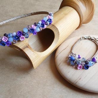 Обруч и браслет с цветами, фиолетово розовый обруч, подарок девочке, украшение для волос