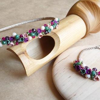 Обруч и браслет с цветами, подарок девочке, украшение для волос