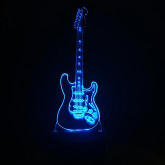 Гитара 2, лампа ночник светильник, подарок музыканту, гитаристу, певцу
