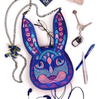 """Синяя сумочка через плечо текстильная """"Фантастический и космический Кролик"""", авторский дизайн"""