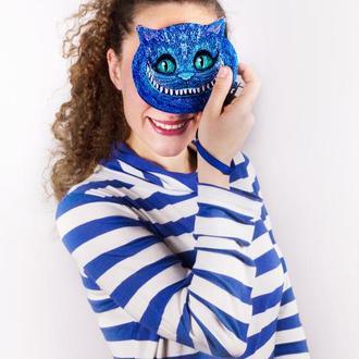 Вышитый летний кошелек Чеширский кот в синем цвете, радующийся и радующий в любое время года:)