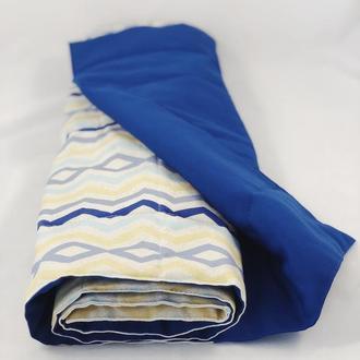 Тканевый коврик для йоги. Дорожка для пикника. Синий коврик.  Абстрактные акценты.