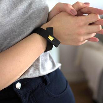 Кожаный браслет LUY N.7 цвет черный. Браслет из натуральной кожи
