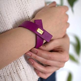 Кожаный браслет LUY N.7 цвет фуксия. Браслет из натуральной кожи