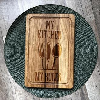 """My kitchen - my rules"" разделочная доска, доска для подачи из дуба 03"
