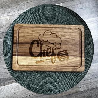 """""""Chef"""" разделочная доска с отверстием для подвеса, доска для подачи из дуба 10"""