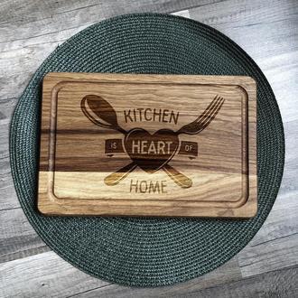 """""""Кухня - сердце дома"""" разделочная доска, доска для подачи из дуба 04"""
