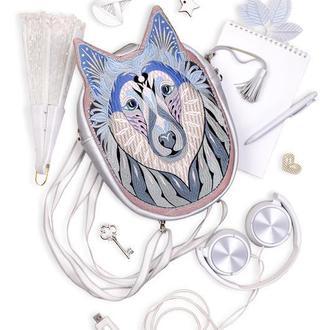 Вышитый рюкзак кожаный Серебряный волк, Оригинальный рюкзак-трансформер повседневный с вышивкой Волк