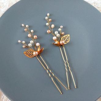 Персиковые шпильки для волос