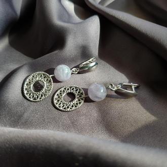 Серьги серебряные с лавандовым аметистом