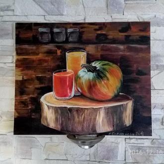 Натюрморт с тыквой 50/60 см Оригинальная живопись Хлопок на картоне. Акрил,лак. Здоровый образ жизни