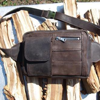 Кожаная напоясная сумка/барсетка/бананка из натуральной кожи Crazy Horse